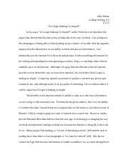 is google making us stupid revised draft allie micka college 5 pages is google making us stupid final