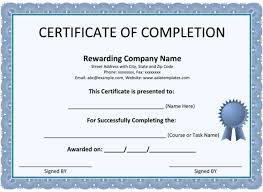 sample certificates of completion certificate of completion template 5 printable formats