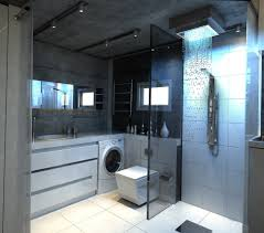 cool track lighting. Ultra Modern Shower Waterfall Plus Square Toilet Idea Also Narrow Wall Mirror And Cool Track Lighting For Bathroom O
