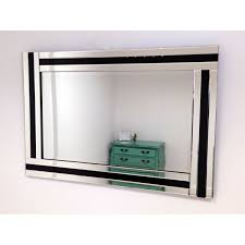 large wall mirror in triple glass frame with black detail 120 x 80cm