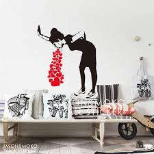 home decor wall sticker banksy style lovesick girl woman heart love cough vinyl wall decal sticker mural wallpaper living room home decor wallpaper for cell