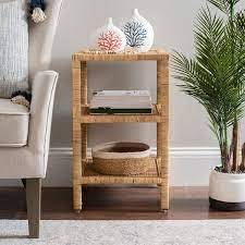 rattan accent table with shelf from