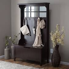 Entryway Coat Rack With Storage Furniture Espresso Entryway Bench Coat Rack With Mirror With 2