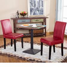 get ations 2 piece red dining chairs faux leather wood material contemporary cal urban style
