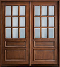 custom solid double wood entry door design with frosted glass panels for rustic modern house design ideas