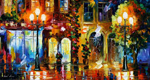 NIGHT DOORS PALETTE KNIFE Oil Painting On Canvas By Leonid Afremov