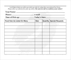 Sample Of Order Form Template Restaurant Food Order Form Template Under Fontanacountryinn Com
