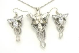 lord of the rings arwen evenstar pendant and earring set platinum plate prop replica