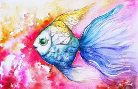 colorful fish on pink background watercolor painted stock photo 18467882