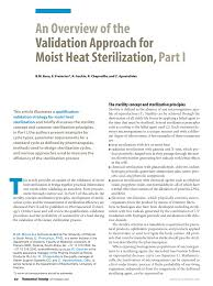 Continuous Sterilization Design Pdf An Overview Of The Validation Approach For Moist Heat