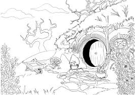 Small Picture Adult Coloring Page Hobbit House from Lord of the Rings