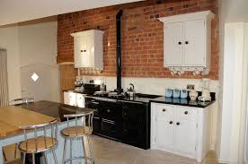Cream Gloss Kitchen Tile Exposed Brick Kitchen Splashback Shapely Molded Wood Bar Stool