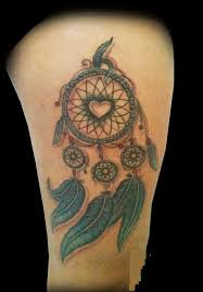 Heart Dream Catcher Tattoo Impressive Small Heart In Dreamcatcher Tattoo On Side Thigh