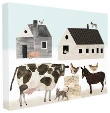<b>Minimal</b> Farm <b>Animals</b> Barn and Home Stretched <b>Canvas</b> Wall <b>Art</b> ...