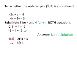 3 1 solving linear systems by graphing 9 20 13 solution of a example determining whether an ordered pair