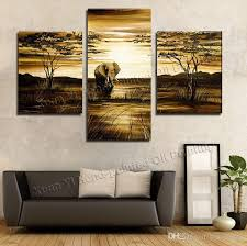 wall art grassland african elephants animals sunrise home decoration modern landscape oil painting on canvas prints painted flowers painting oil canvas  on 3 panel wall art diy with wall art grassland african elephants animals sunrise home decoration