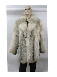 preowned mens natural coyote fur stroller coat jacket large label