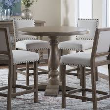 decoration acme dresden round pedestal counter height dining table in brown with regard to counter