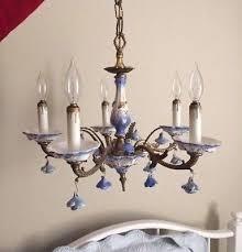 vintage italian porcelain and brass chandelier blue rose