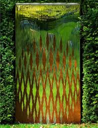 modern oxidised water wall garden sculpture outdoor wall art