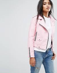 women mango faux leather biker jacket functional pockets lightpink