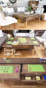 Wooden Game Table Plans DIY Coffee Table With Pullouts Game boards Stylish and Storage 57