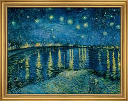 painting starry night over rhône 1888 in a frame null null