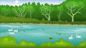 summer background pond in a park in summer background cartoon clipart vector toons