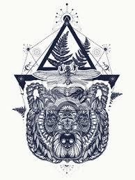 Fototapeta Bear A Vážka Posvátné Geometrie Tetování A Tričko Design Northern