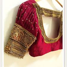 Designer Blouse Online Shopping With Price Pink Bridal Work Readymade Blouse With Stones Zardosi And Zari Maggam Work The Goddess Statue Is Based On Availability