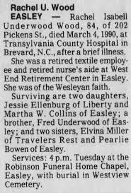 Obituary for Rachel Underwood Wood (Aged 84) - Newspapers.com