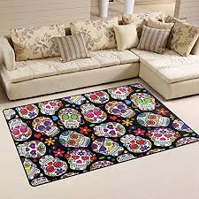 area rug on carpet living room. COOSUN Day Of The Dead Sugar Skull Background Area Rug Carpet Non-Slip Floor Mat On Living Room W