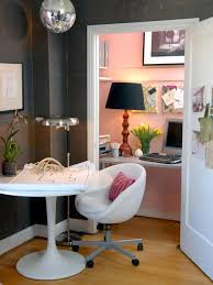 closet to office. inspiration for an eclectic home office remodel in san francisco with pink walls closet to