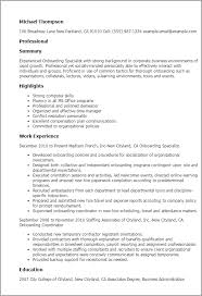 Staffing Specialist Resumes Professional Onboarding Specialist Templates To Showcase