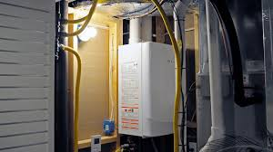 garage with tankless hot water heater