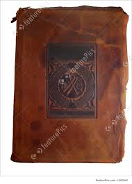 old book cover brown leather book cover with e for le