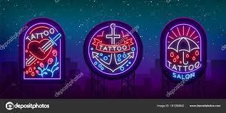тату салон набор логотипов в стиле неон коллекцию неоновые знаки