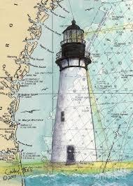Paintings On Nautical Charts Amelia Island Lighthouse Fl Nautical Chart Art Cathy Peek