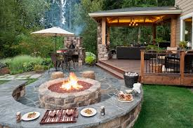 backyard designs. Backyard Designs With Fire-pit In Paver Patio, Retainer Wall And Landscaping Lighting