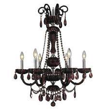 carnivale 6 light polished chrome and cranberry red crystal chandelier