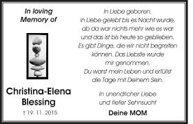 Traueranzeigen von Christina-Elena Blessing | ZVW-Trauer