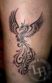 Dancing Phoenix Tattoo On Leg Tattooshuntcom