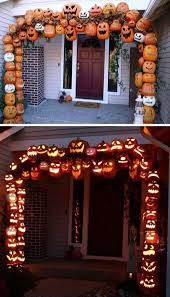 cool halloween decorations to make at home. attach foam pumpkins to make this illuminated pumpkin arch for a spooky entryway. cool halloween decorations at home h