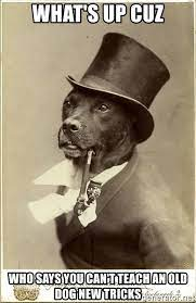 what's up cuz who says you can't teach an old dog new tricks - Old Money  Dog   Meme Generator