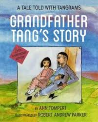 grandfather tells a story using tangrams about shape changing fox fairies who try to best each other until a hunter brings danger to both of them