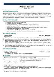 Mechanical Engineer Resume Template Mechanical Engineer Cv