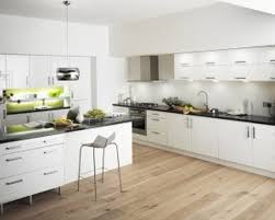 modern white kitchen wood floor. Simple Kitchen White Kitchen Cabinets Varnished Wooden Cabinet Granite  Tops Integrated Marble Backsplash Stainless Steel And Modern Wood Floor T