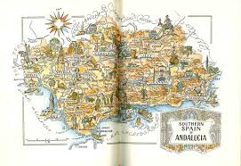 southern spain map old book ilration vine map art by jacques liozu retro