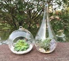 terrarium hanging glass whole tear drop glass plant succulent globe candle holder for home decor tear