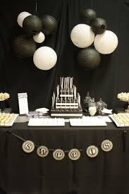 Black and white dessert table, love this for a male birthday party
